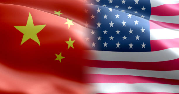 USA China trade war flag USA China trade war flag trade war stock pictures, royalty-free photos & images