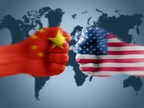 US - China trade war US - China trade war, boxing flag fists trade war stock pictures, royalty-free photos & images