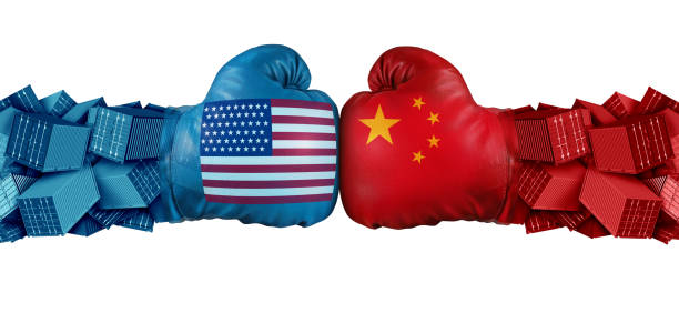 China United States Trade Challenge China United States or USA trade and American tariffs conflict with two opposing trading partners as an economic import and exports dispute concept with 3D illustration elements. trade war stock pictures, royalty-free photos & images