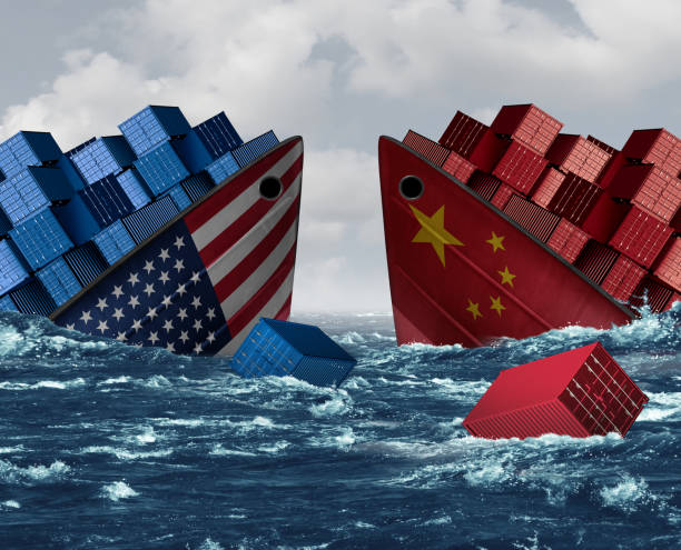 China United States Trade War Risk stock photo