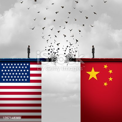 China US conflict and USA or United States trade and American tariffs conflict with two opposing trading partners as an economic import and exports dispute concept with 3D illustration elements