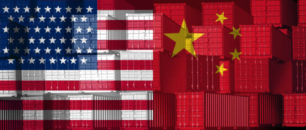 China US Trade China US trade business concept as a Chinese USA tariff war and American tariffs as two opposing groups of cargo freight containers as an economic dispute or relationship over import and exports as a 3D illustration. trade war stock pictures, royalty-free photos & images