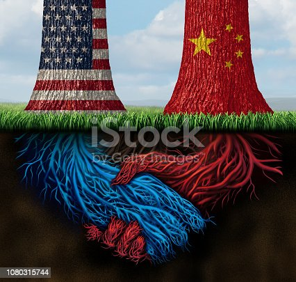 China USA trade agreement and United States deal or American tariffs negotiation as an economic  taxation solution over import and exports concept with 3D illustration elements.