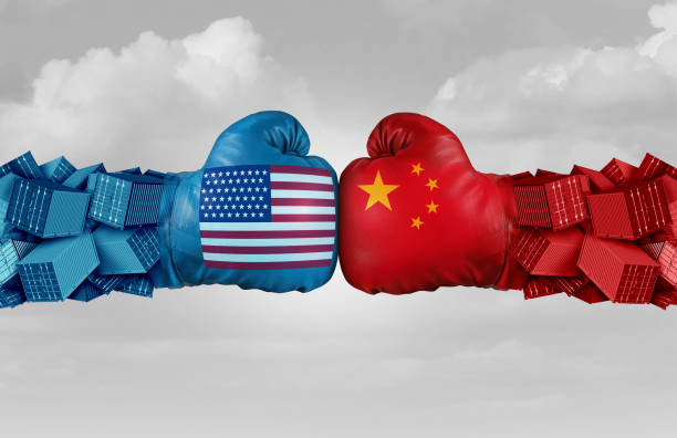 China USA Trade Challenge China USA or United States trade and American tariffs conflict with two opposing trading partners as an economic import and exports dispute concept with 3D illustration elements tariff stock pictures, royalty-free photos & images
