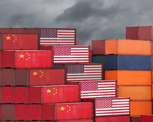 China USA trade war tariff cargo container export import shipping stock photo