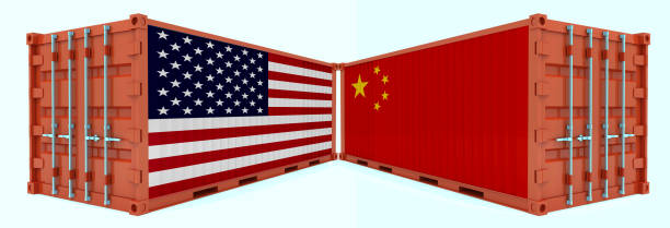 China USA trade war tariff cargo container export import shipping China USA trade war tariff cargo container export import shipping trade war stock pictures, royalty-free photos & images