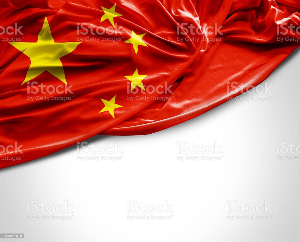 China waving flag on white background stock photo