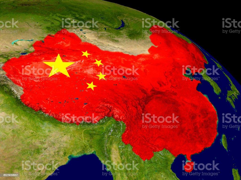 China con la bandera en la tierra - foto de stock