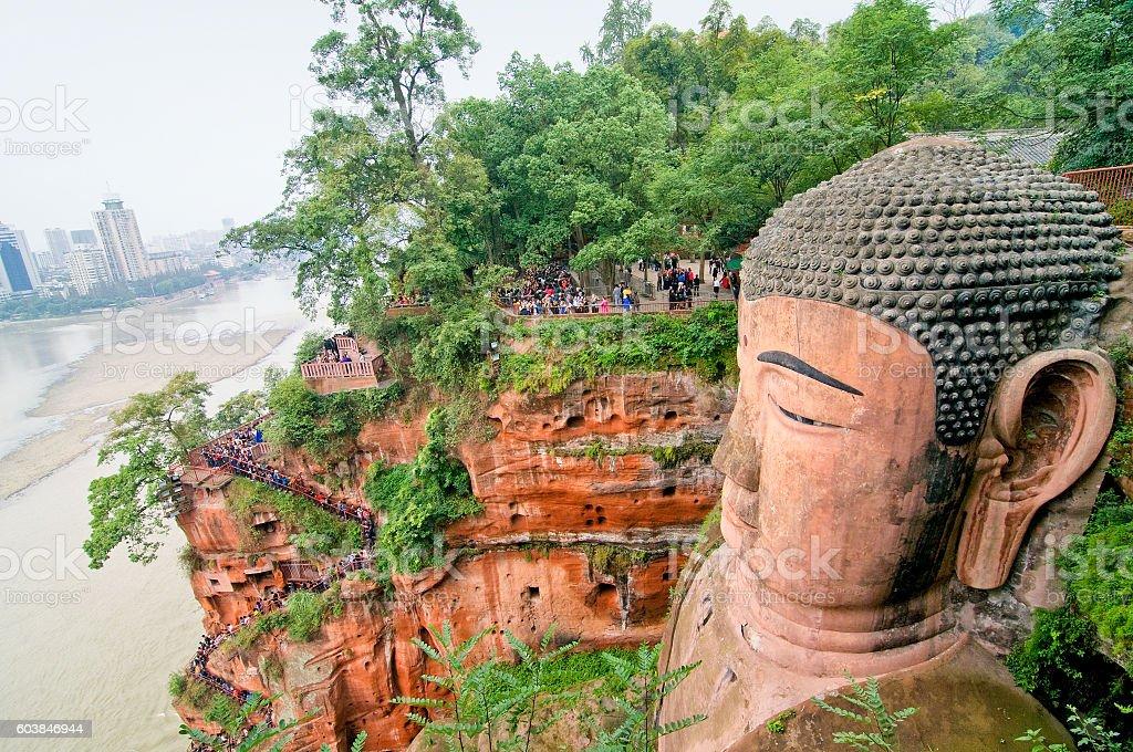 China world heritage site: Leshan giant buddha in Sichuan, China stock photo