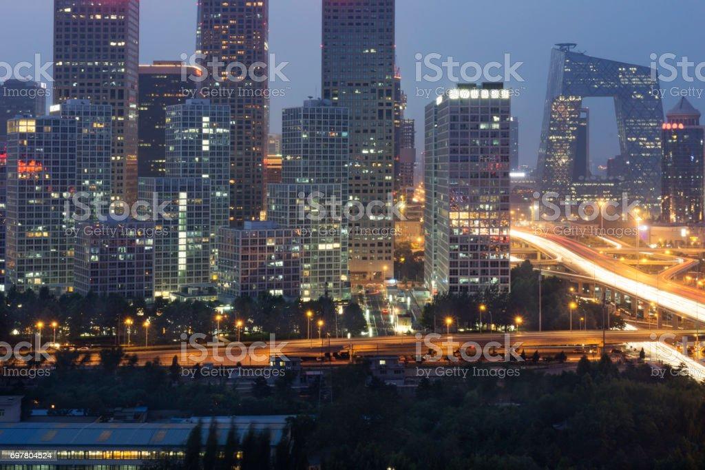 China World Towers,Beijing famous shopping district. stock photo