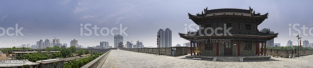 China Xi'an ancient city walls modern skyscrapers panoramic cityscape stock photo
