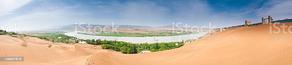 China Yellow River Shapotou dunes panorama royalty-free stock photo