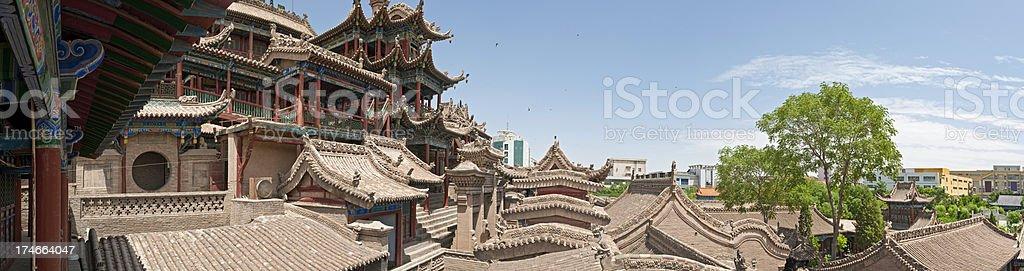 China Zhongwei Gao Miao temple pagoda panorama stock photo