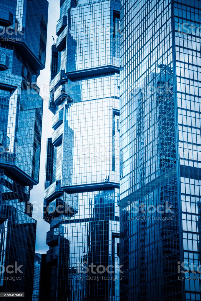 China,Hong Kong,modern office towers in downtown stock photo