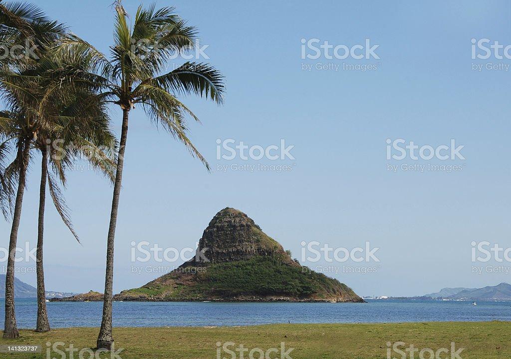 Chinaman's Hat Island, Oahu, Hawaii stock photo
