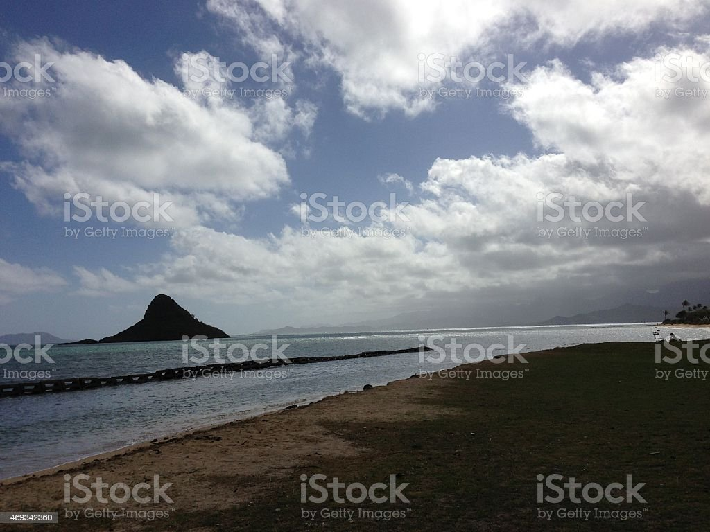 Chinaman's Hat Island off Oahu in Hawaii stock photo