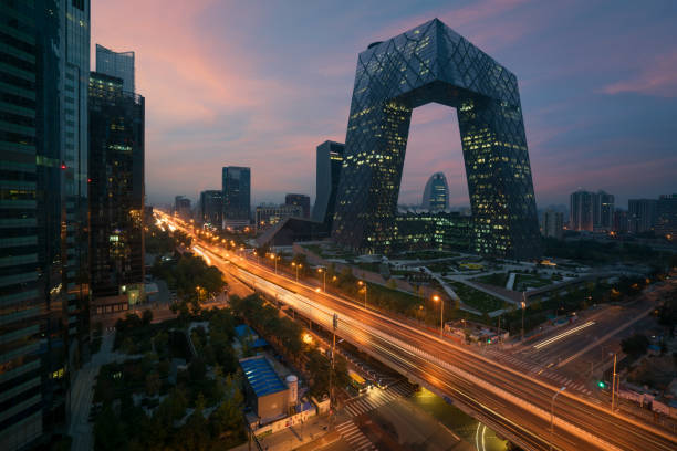 Peking, China-21. Oktober 2017: Chinas Peking-Stadt, ein berühmtes Wahrzeichen, China CCTV (CCTV) 234 Meter hohe Wolkenkratzer ist sehr spektakulär. – Foto