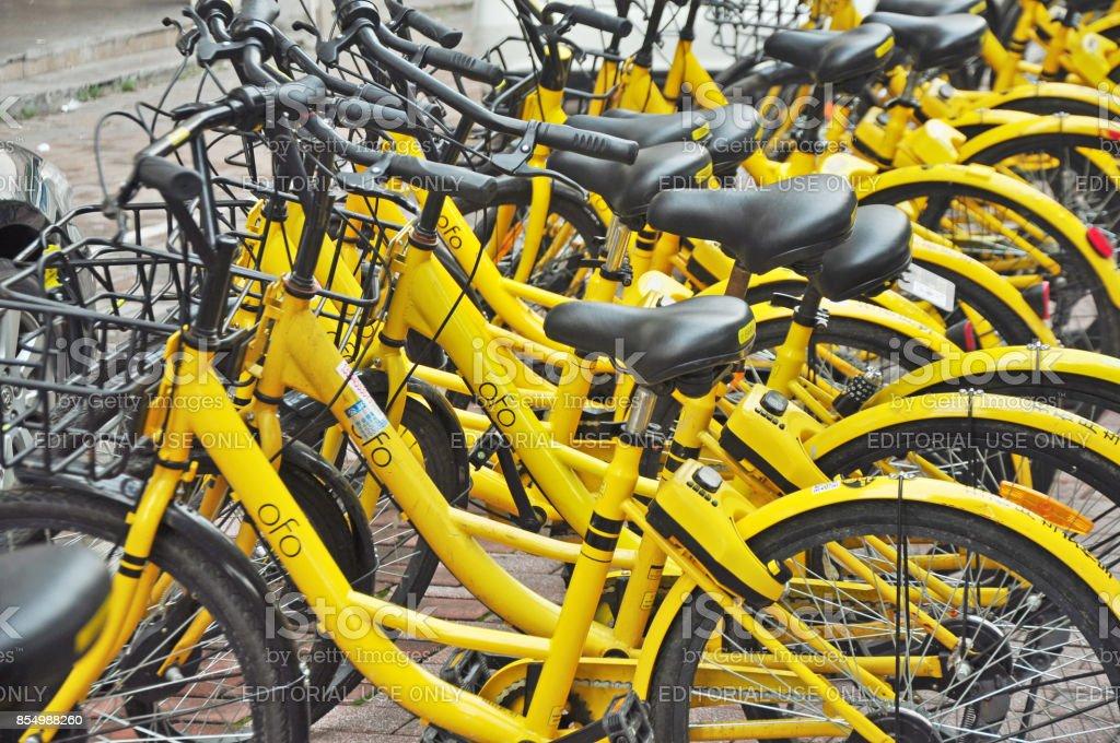 China's bike sharing boom in charts. stock photo