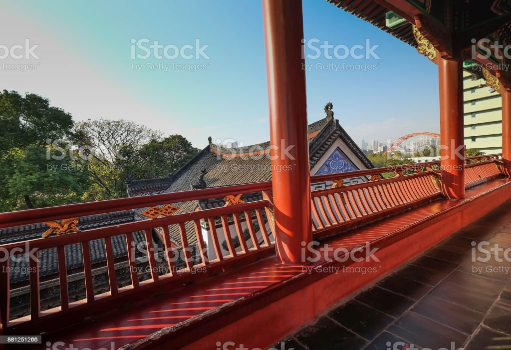 China's hubei province wuhan to old palace with ancient chinese poetry tourists stock photo