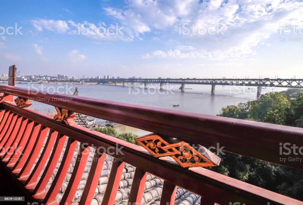 China's hubei province wuhan to old palace with ancient chinese poetry tourists. stock photo