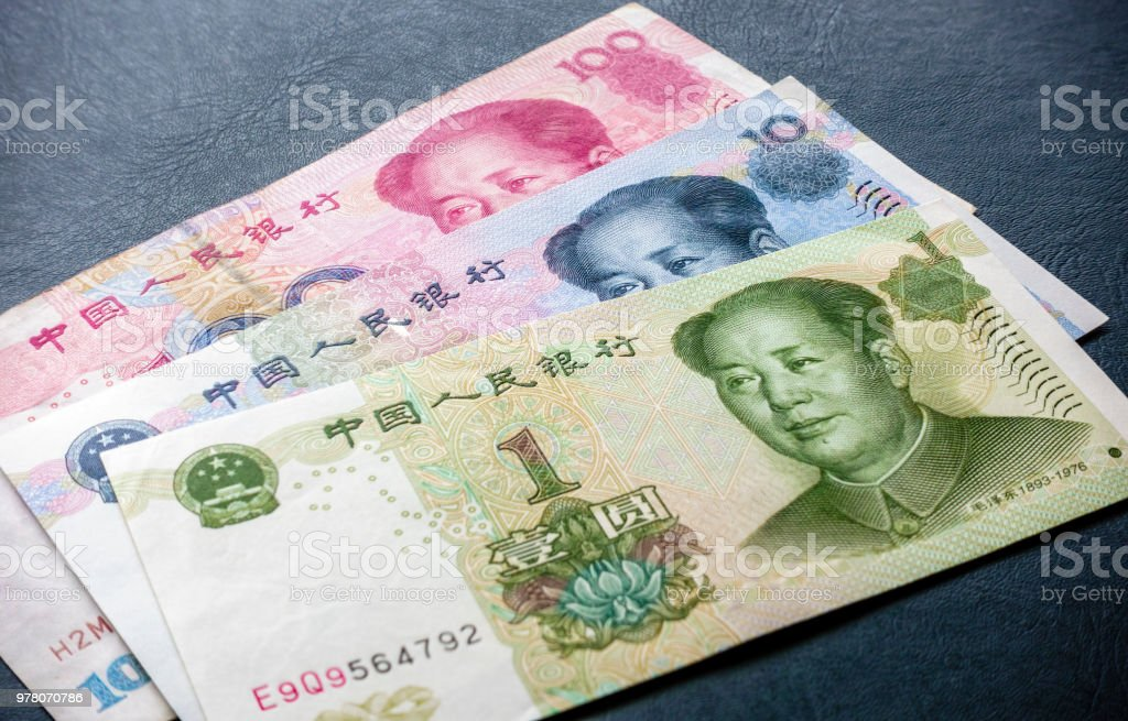 China's one hundred, ten and one dollar bill denominations stock photo