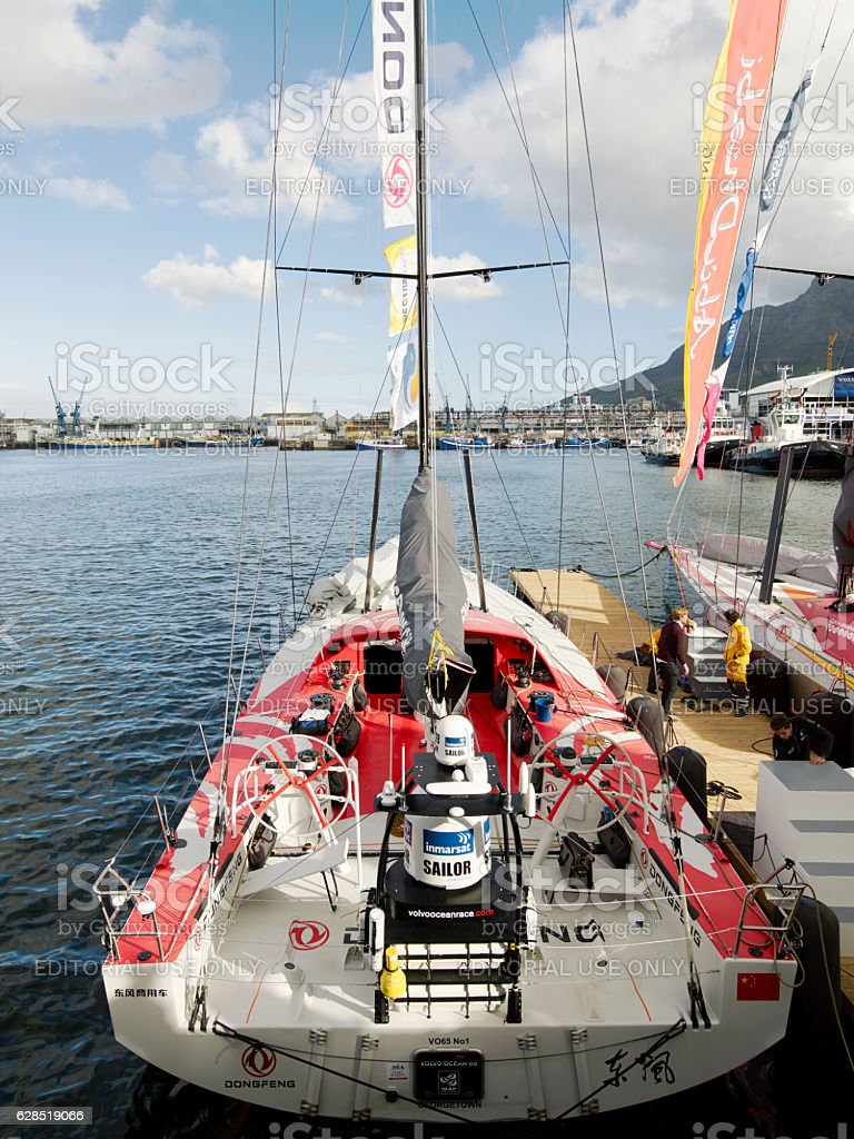 China's only sailing boat 'Volvo Ocean 65 Dongfeng, Cape Town stock photo