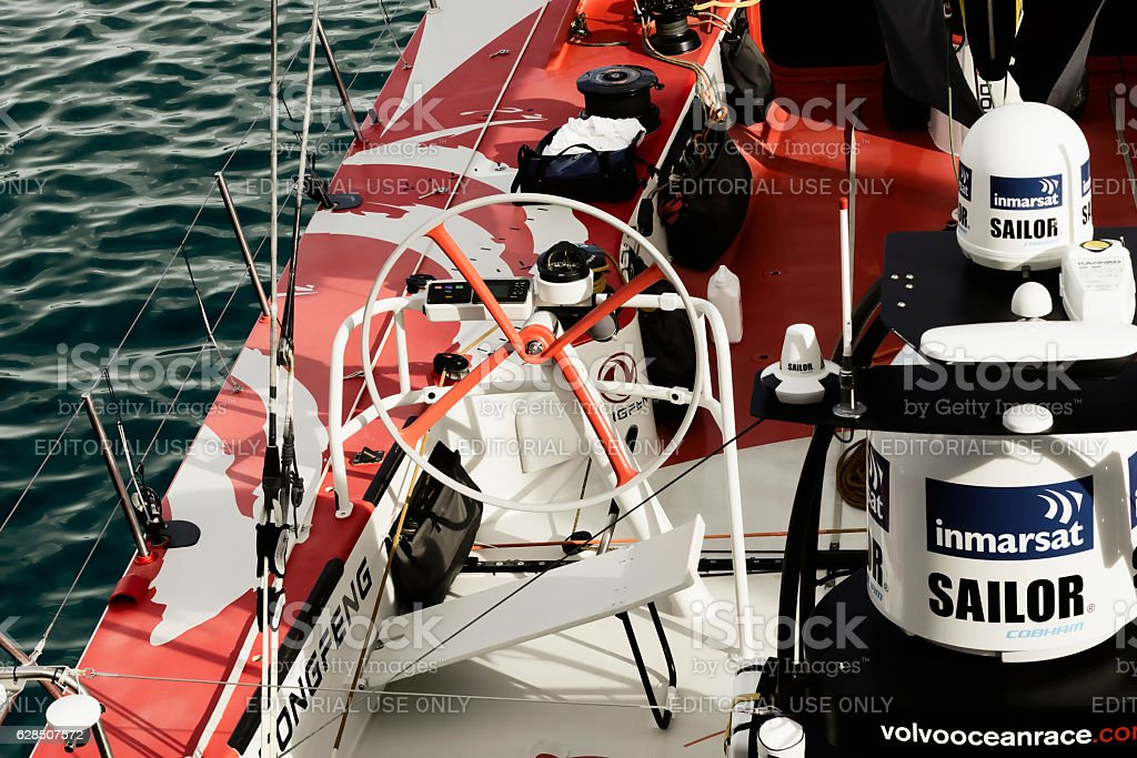 China's only sailing boat 'Volvo Ocean 65 Dongfeng' stock photo