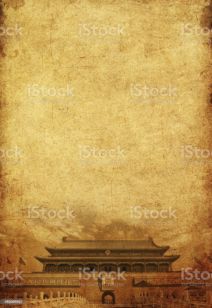 China's Tiananmen Square in the old paper pictures royalty-free stock photo