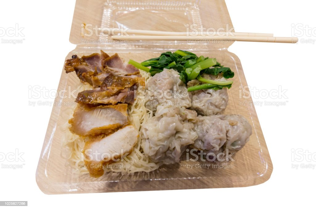 chinase noodle with red pork in plastic bag stock photo