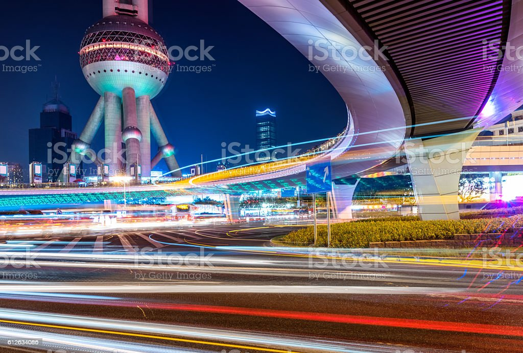 china,shanghai,night scene of lujiazui financial district – Foto