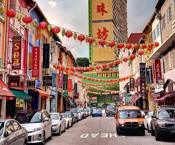 chinatown district - singapore - chinatown stockfoto's en -beelden
