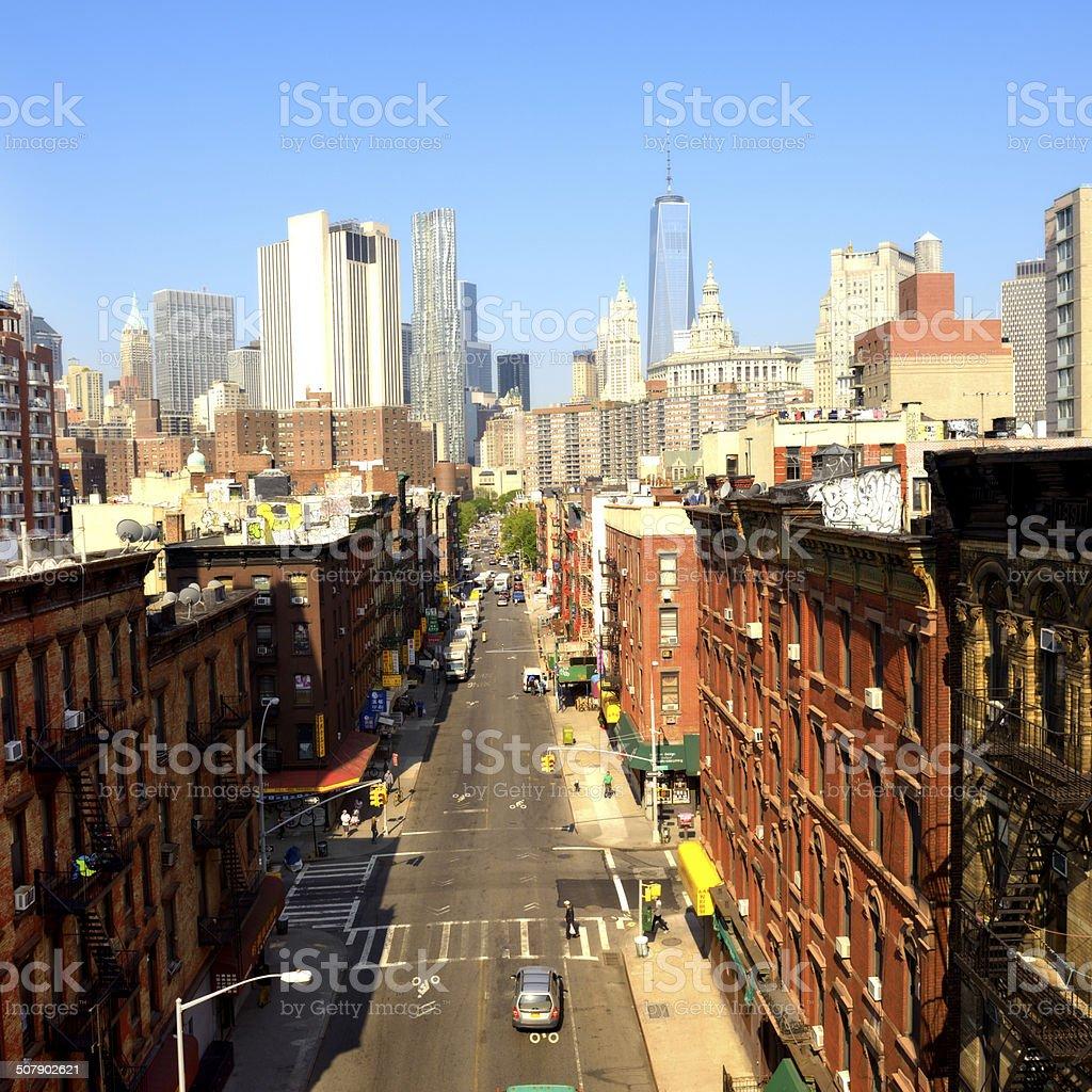 Chinatown, Freedom Tower, Lower Manhattan, NYC. stock photo