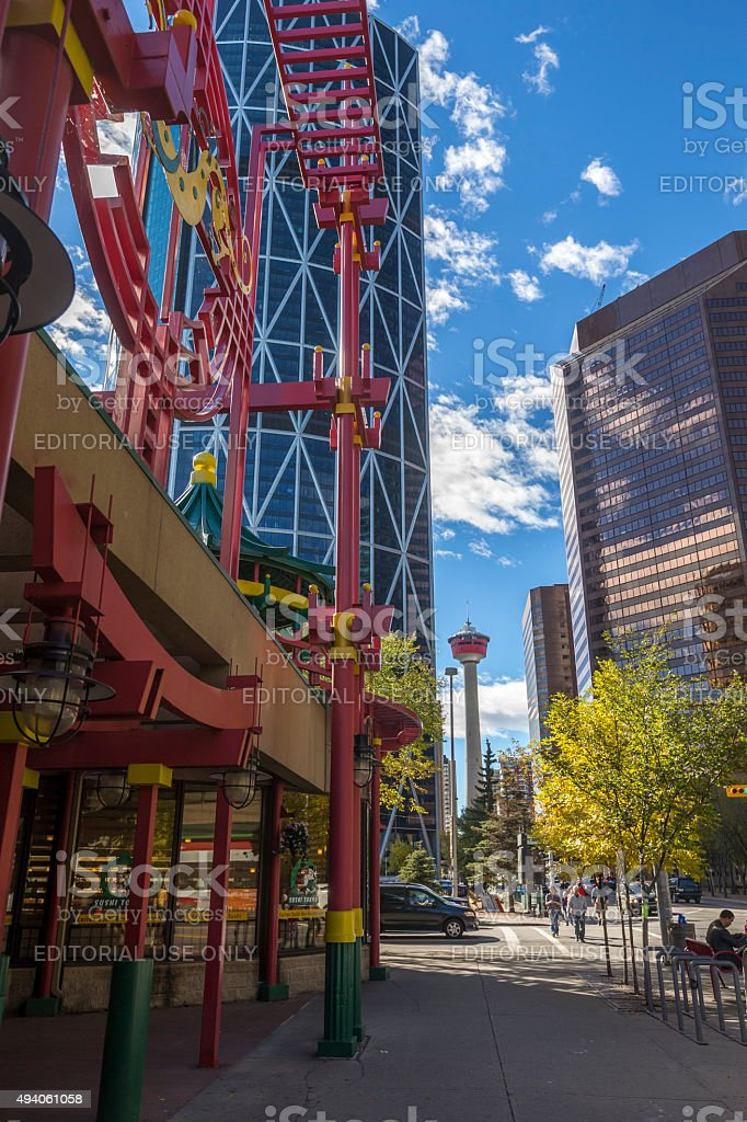 Chinatown in Calgary downtown, Canada stock photo