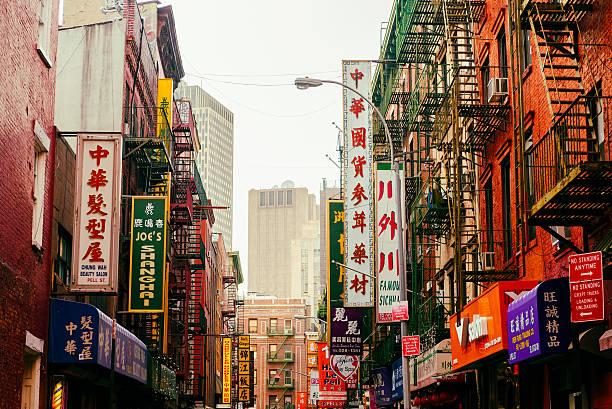 chinatown in lower manhattan, new york city, usa - chinatown stockfoto's en -beelden
