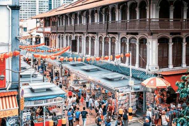 chinatown in singapore - chinatown stockfoto's en -beelden