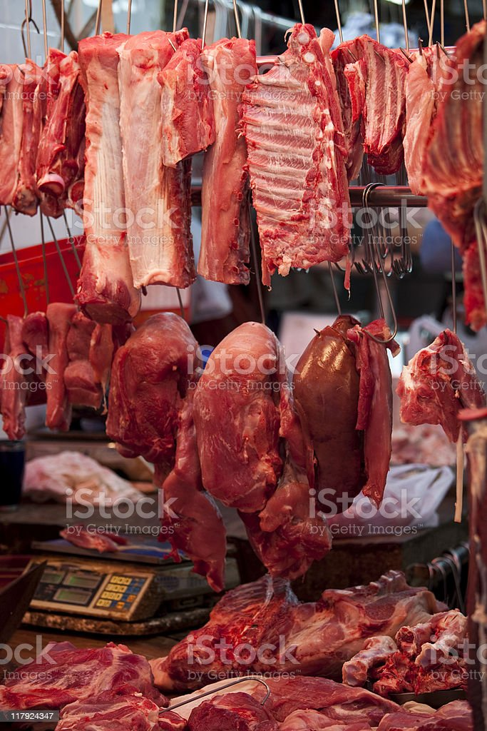 Chinatown Meat Market royalty-free stock photo