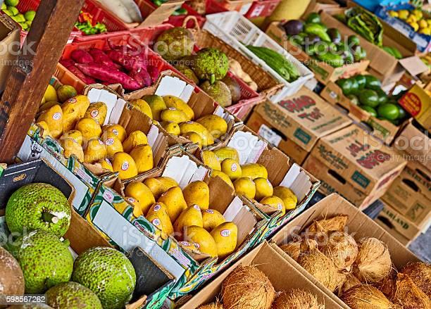 Chinatown Oahu Market Produce Fruit Vendor Honolulu Hawaii