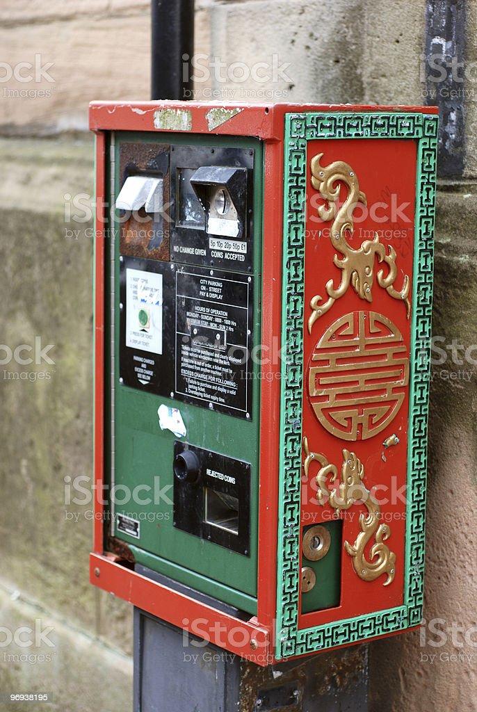 Chinatown parking ticket dispenser royalty-free stock photo
