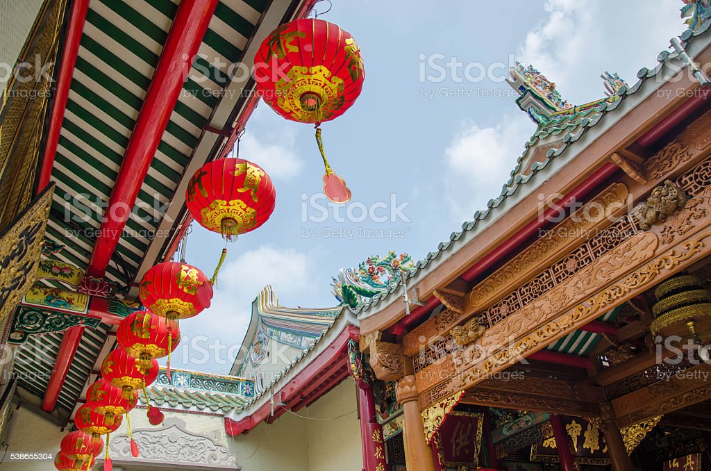 Chinatown roof China Temple stock photo