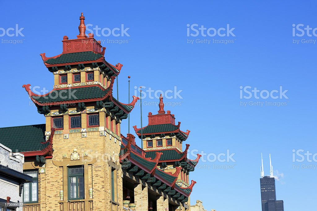 Chinatown Rooftops in Chicago stock photo