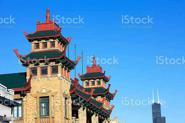 Chinatown Rooftops In Chicago Stock Photo - Download Image Now