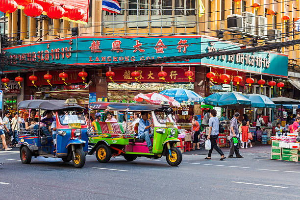 Chinatown street life in Bangkok stock photo