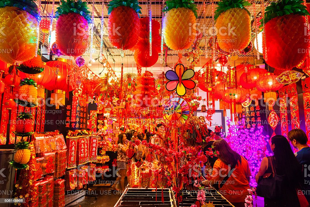 Chinatown Vendor Selling Lanterns and New Year Decorations royalty-free stock photo