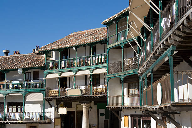 Chinchon - Balcony houses, detail of Plaza Mayor, Spain stock photo