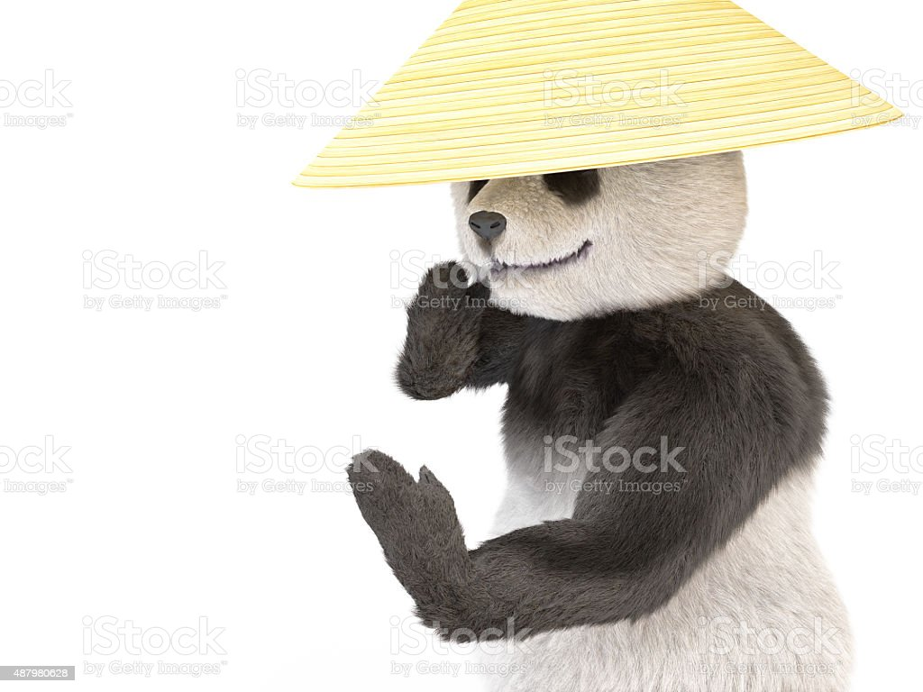 chineese cheerful character panda fluffy teddy stock photo