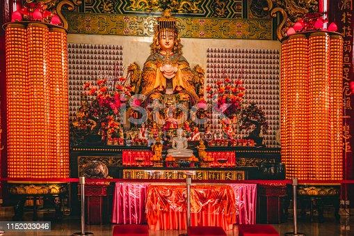 Chinese altar of Mazu (Tian Hou) at Thean Hou temple in Kuala Lumpur.