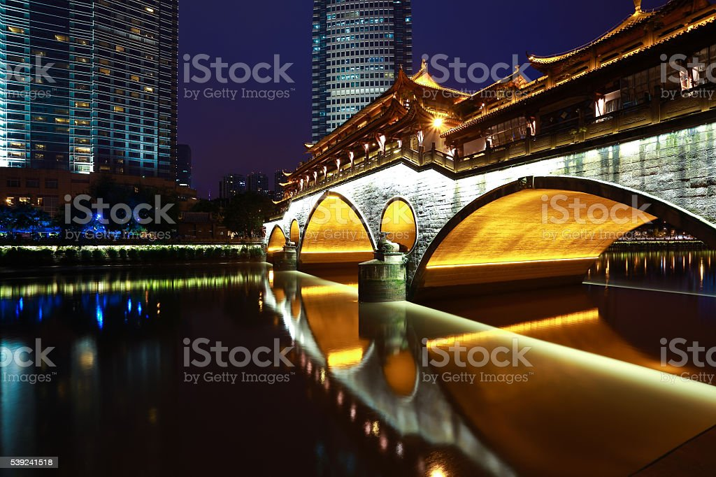 Chinese ancient bridge architecture of Night royalty-free stock photo
