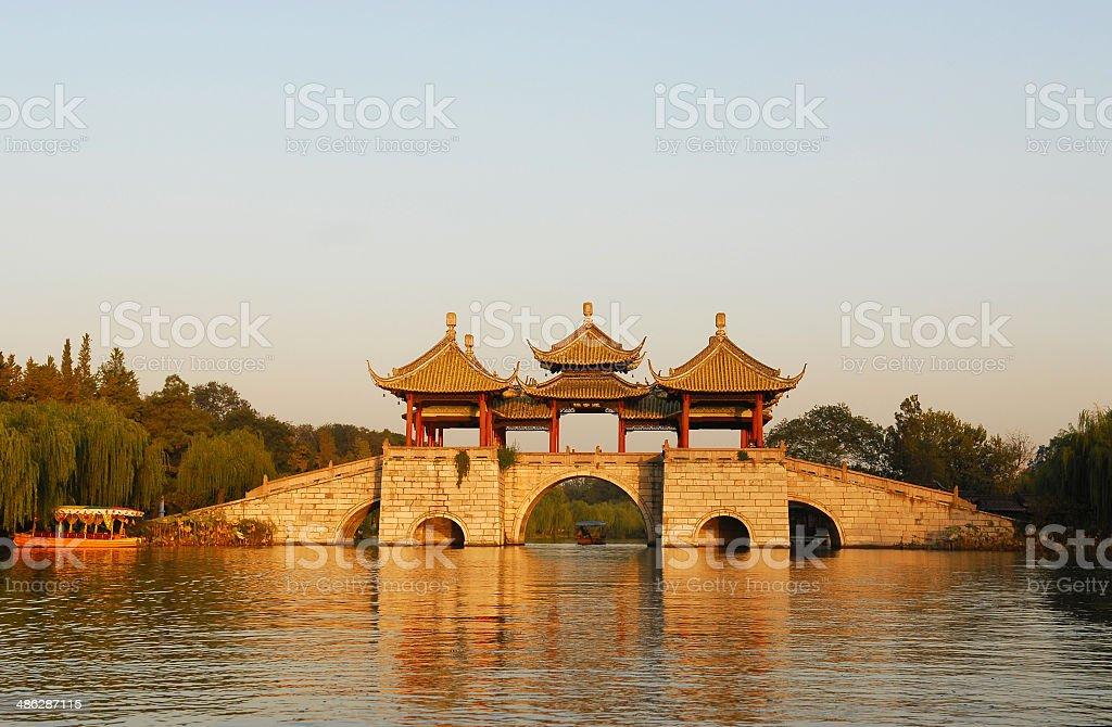Chinese ancient bridge in Yangzhou City stock photo