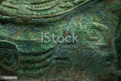 Chinese ancient bronze pattern close-up