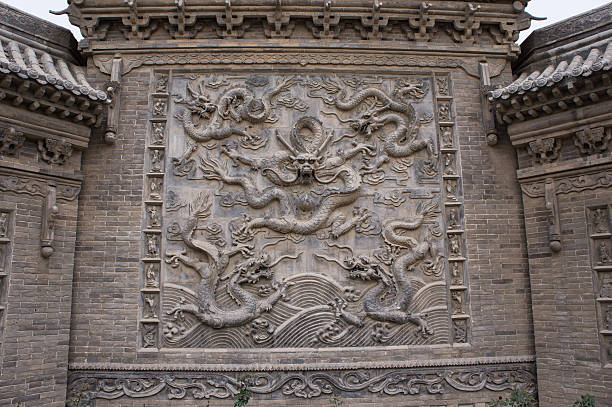 Chinese ancient house screen wall stock photo